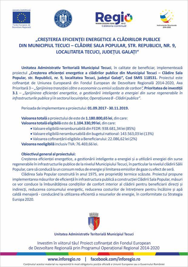 Mun. Tecuci - Cladire Sala Popular - SMIS 118531 - prezentare proiect pag 1