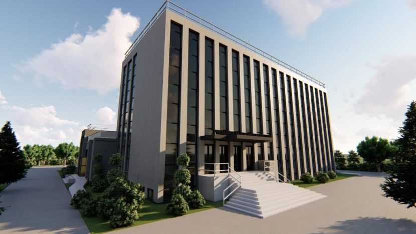 Sediul Primariei Tecuci reabilitat - vedere din sud-sud-est